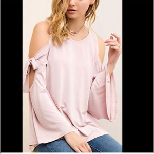 Tops - Cold shoulder w/ bow tie sleeves top shirt blouse